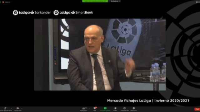 Javier Tebas habla sobre el regreso del público a los estadios, la detención de Bartomeu y el mercado de fichajes