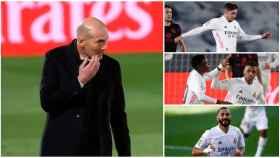 Zidane, Valverde, Rodrygo y Benzema, en un collage