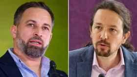 Santiago Abascal, presidente de Vox, y Pablo Iglesias, secretario general de Podemos.