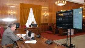 El presidente de la Diputación de Zamora, Francisco Requejo, durante el acto telemático de presentación del Proyecto Conectividad