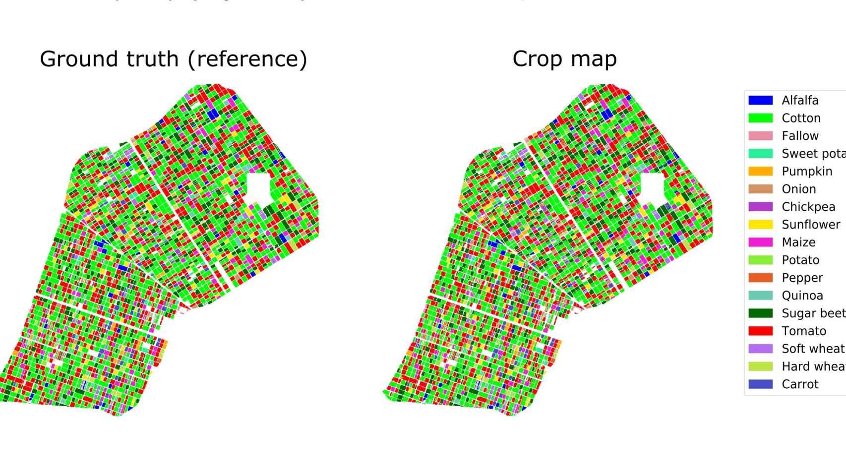 Mapas de cultivos proporcionados por la cartografía espacial.