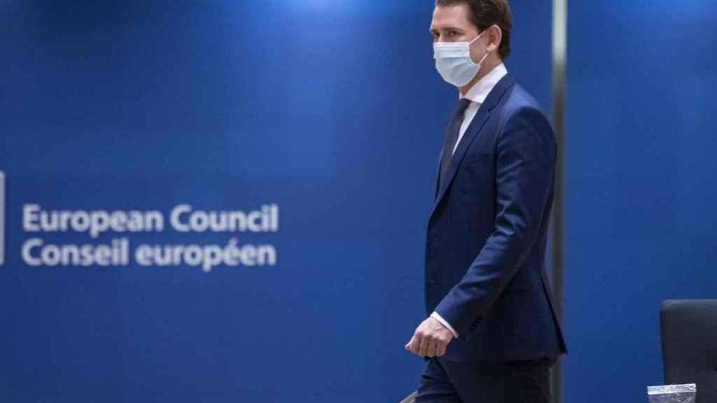 El canciller austriaco, Sebastian Kurz, durante una cumbre de la UE