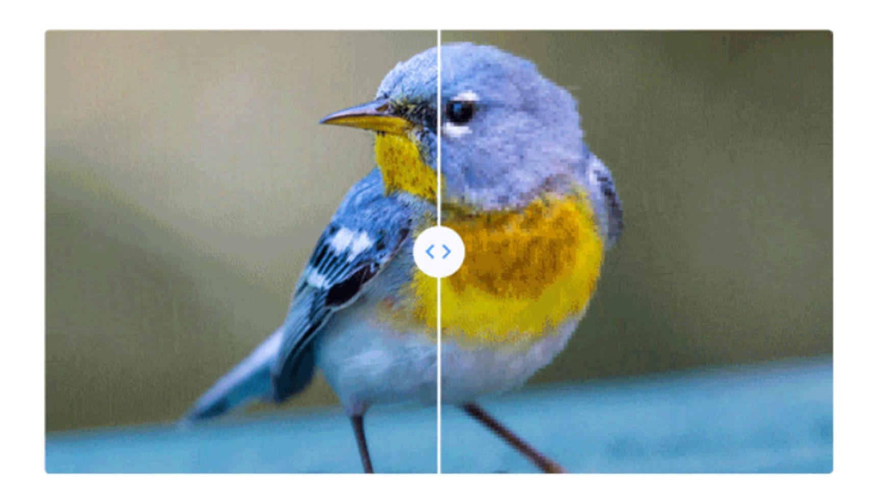 Imagen comparativa de calidad de fotos de Google