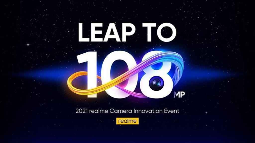 Realme anunciando su cámara de 108 megapíxeles.
