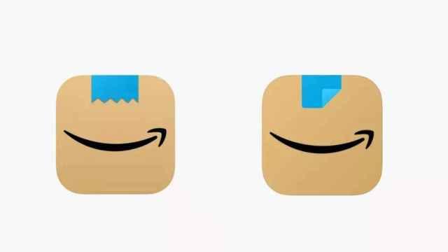 Logos de Amazon, antes (izquierda) y después (derecha)