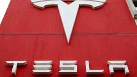 FILE PHOTO: The logo of car manufacturer Tesla is seen in Bern