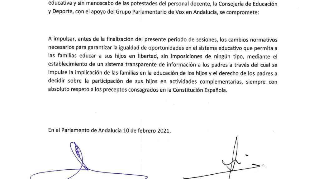 Acuerdo firmado por el consejero de Educación y Vox.