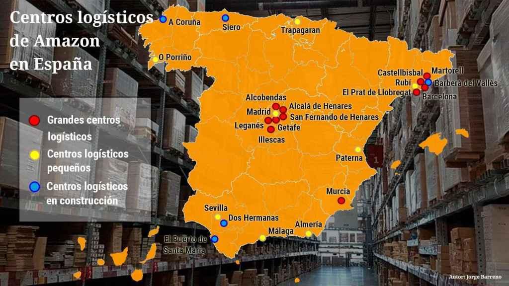 Mapa de los centros logísticos de Amazon en España.