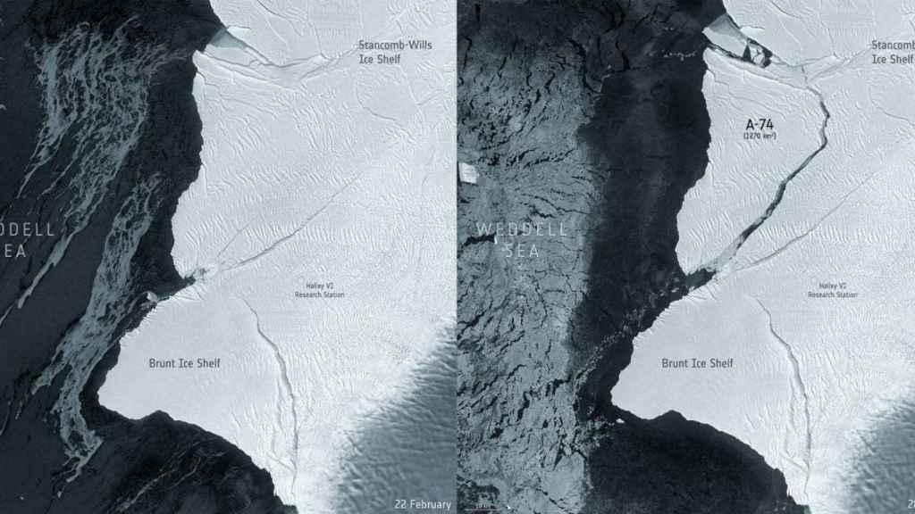 Imágenes captadas el 22 y 28 de febrero por el satélite europeo Sentinel-1, donde se aprecia el desprendimiento del iceberg A-74.