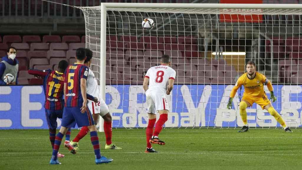 Gol de Ousmane Dembélé, en la semifinal entre Barcelona y Sevilla de la Copa del Rey