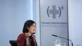 La ministra de Sanidad, Carolina Darias, durante la rueda de prensa del Consejo Interterritorial del SNS.