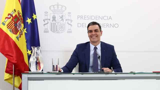 Pedro Sánchez, presidente del Gobierno, durante su intervención telemática ante la London School of Economics.