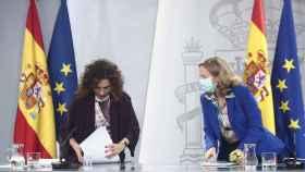 María Jesús Montero y Nadia Calviño, tras el Consejo de Ministros.