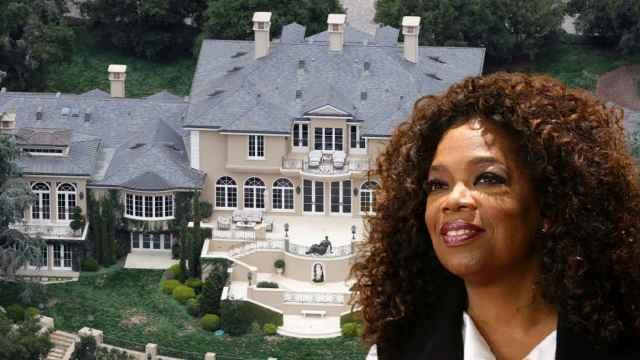 Oprah Winfrey junto a su mansión en Montecito, en un fotomontaje de JALEOS.