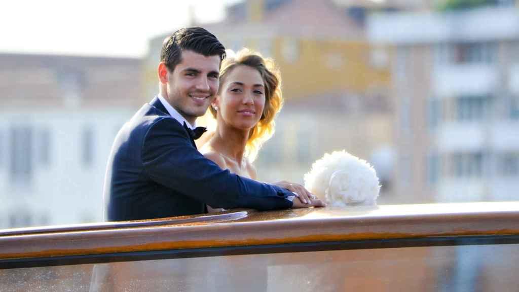 Álvaro Morata y Alice Campello el día de su boda.
