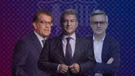 Toni Freixa, Joan Laporta y Víctor Font, en un fotomontaje