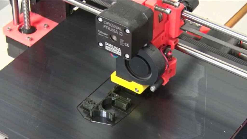 Proceso de impresión 3D de una de las vigas.