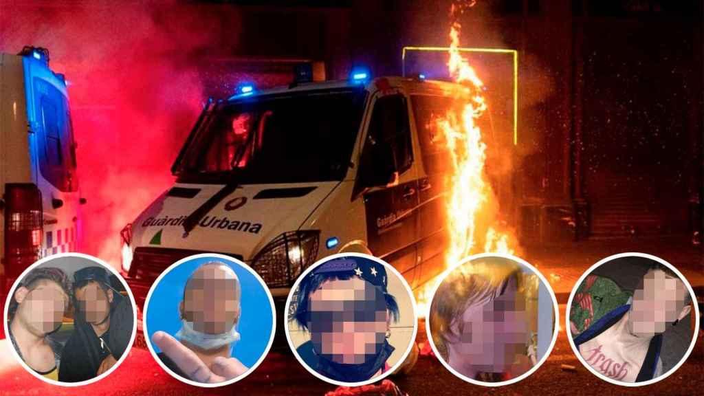 Los Mossos d'Esquadra han detenido a ocho personas relacionadas con la quema de un furgón policial con un agente dentro.