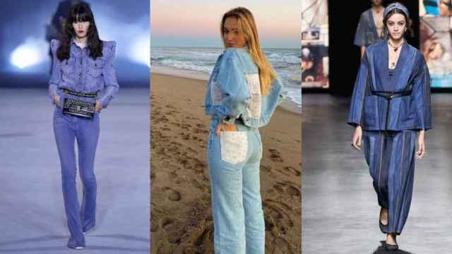 Algunas de las propuestas 'denim on denim' que han presentado Balmain, Pull & Bear o Dior.