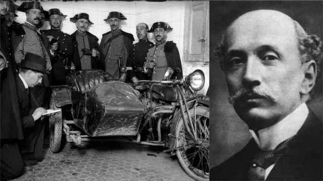 El vehículo utilizado para asesinar a Eduardo Dato y un retrato del presidente del Consejo de Ministros.
