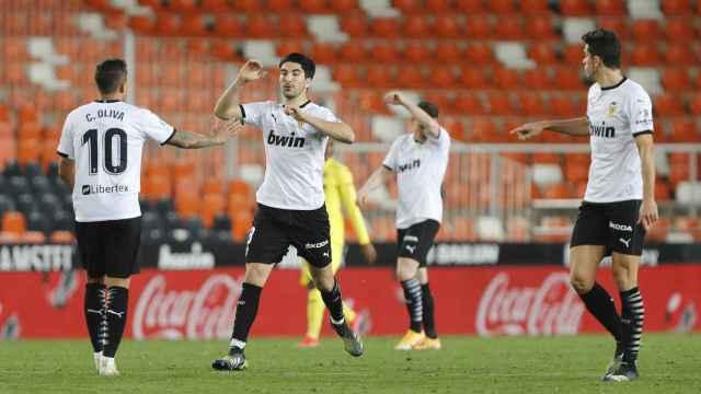 El Valencia celebra el gol ante el Villarreal