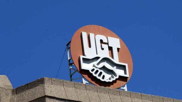 Logo de UGT en la sede de Madrid.