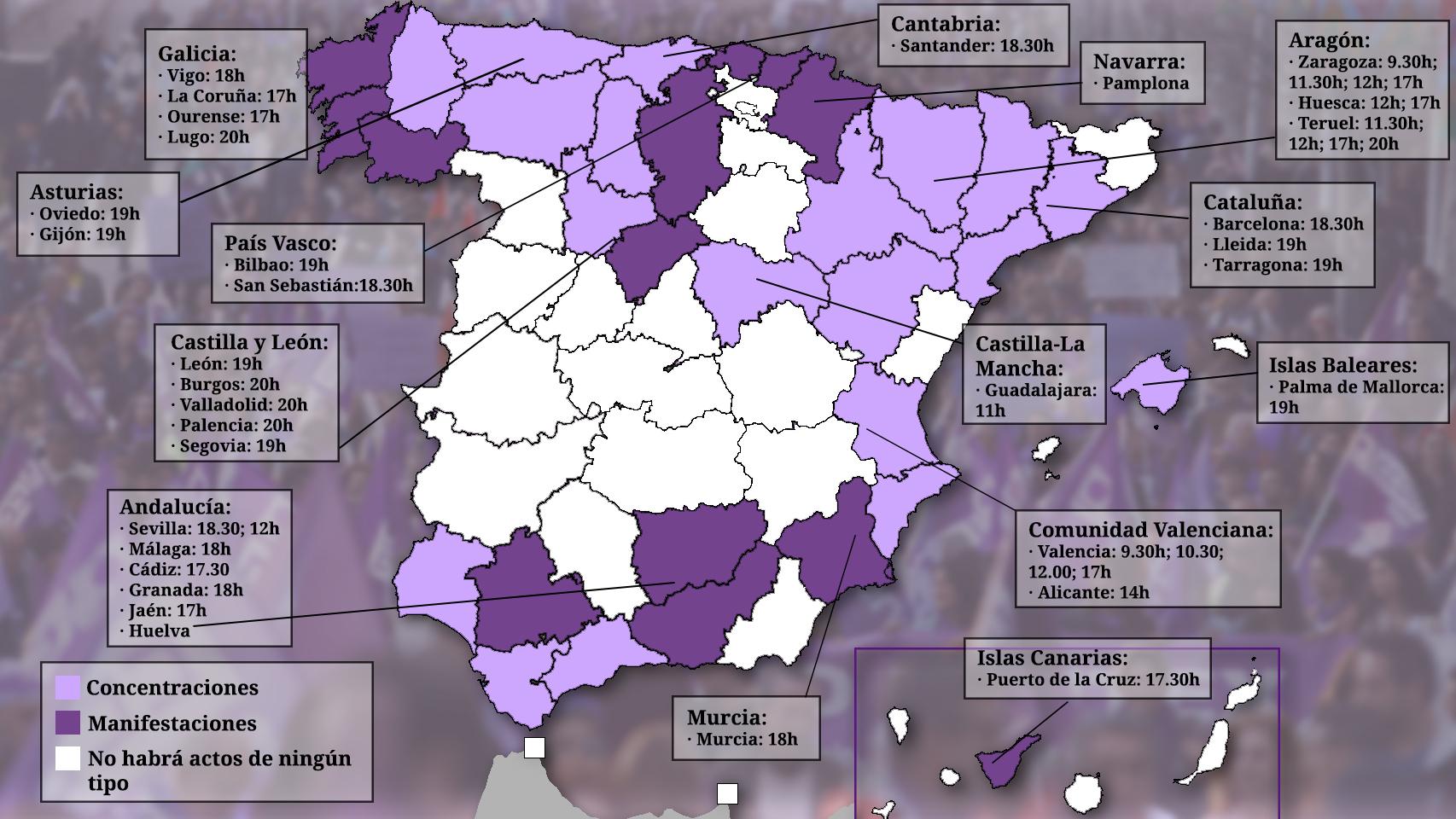 Así es el mapa con las manifestaciones y concentraciones por el 8-M en toda España