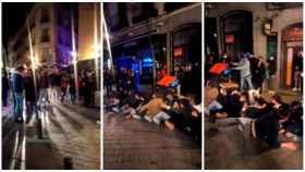 Tres imágenes del vídeo de un grupo de jóvenes incumpliendo las medidas anti Covid en Madrid.