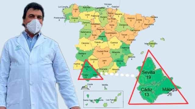 El doctor Carlos Camacho sobre un mapa de España con la cifra de agresiones por provincias a personal sanitario.