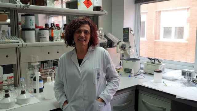 La rectora de la UCPT, Beatriz Miguel, en un laboratorio de la Universidad Politécnica de Cartagena.