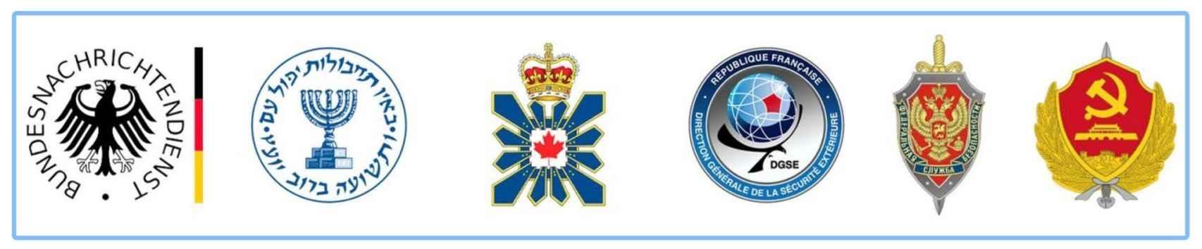 De izquierda a derecha los logos de las agencias de inteligencia de Alemania, Israel, Canadá, Francia, Rusia y China.