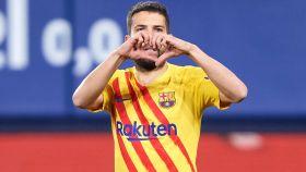 Jordi Alba celebrando su gol