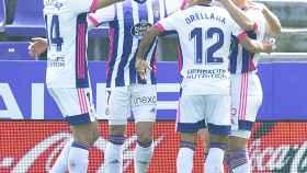 El Valladolid celebra un gol contra el Getafe