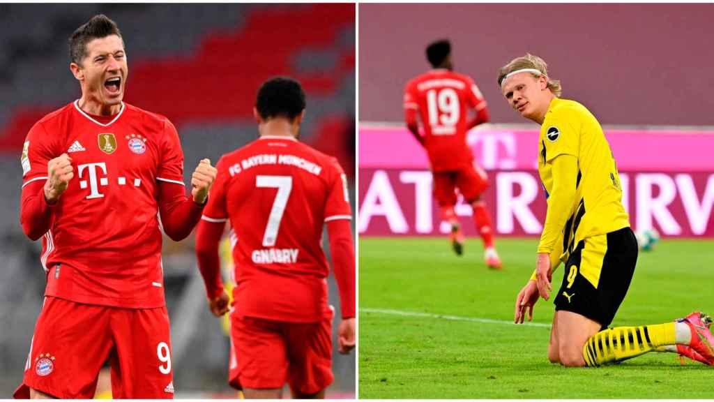 Lewandowski y Haaland en un fotomontaje