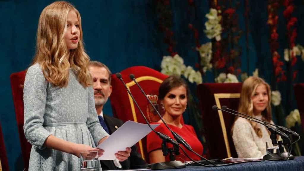 Leonor durante su discurso de los Premios Princesa de Asturias 2019