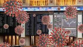 Montaje con estructuras de coronavirus en el interior de la Bolsa de Madrid.