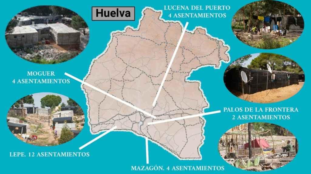 El mapa de los asentamientos en la provincia de Huelva.