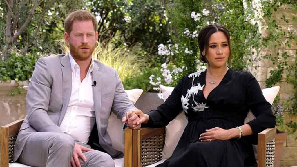 Harry y Meghan Markle, durante su entrevista con Oprah Winfrey.