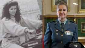 La guardia civil condecorada Manuela Simón, de joven y en la actualidad.