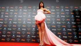 La actriz Hiba Abouk en la alfombra roja de los Goya.