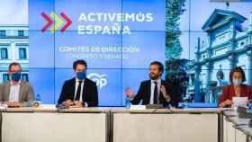 El presidente del PP, Pablo Casado, preside la reunión con los comités de dirección del Grupo Popular