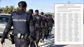 Un grupo de agentes de la Policía Nacional y el polémico examen.