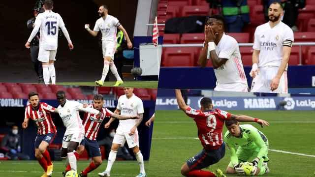 Karim Benzema, Vinicius Jr, Fede Valverde, Ferland Mendy, Toni Kroos y Thibaut Courtois, en un collage