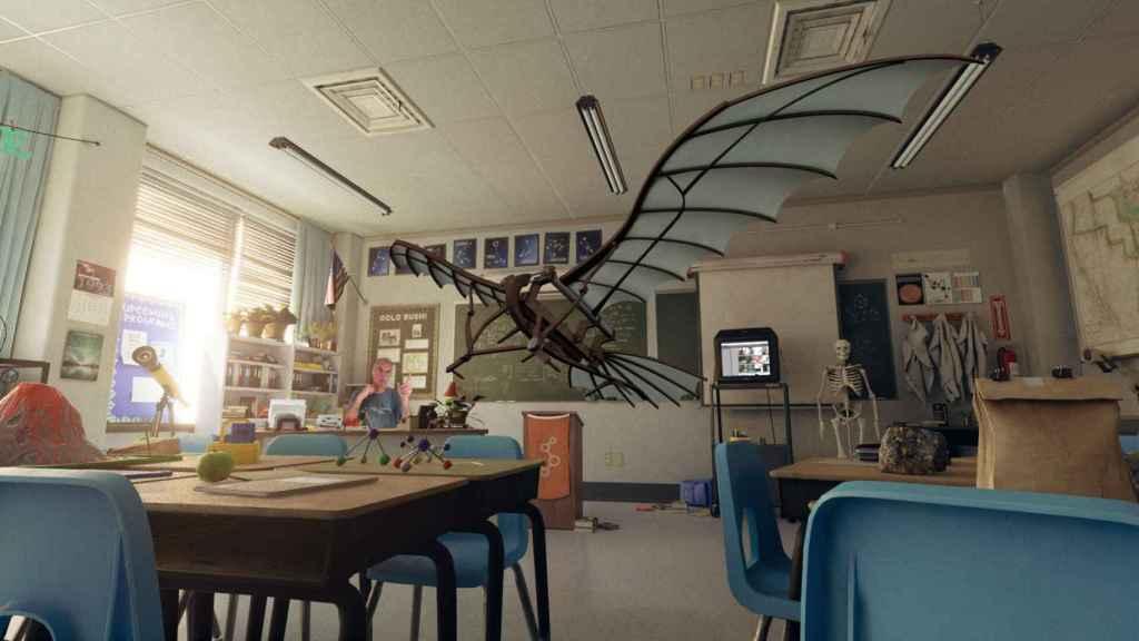 Ricardo Montesa, CEO de Brainstorm, convierte su despacho en el aula de una escuela con sus pupitres.