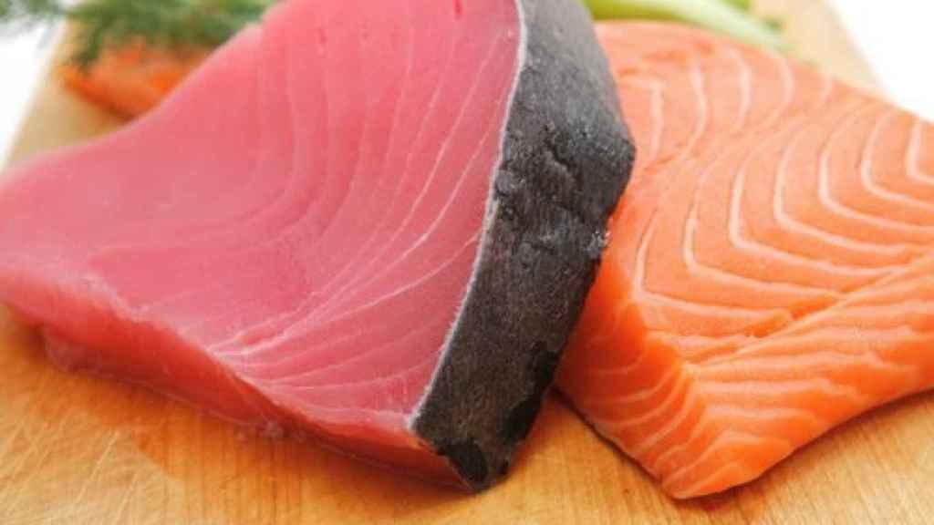 Unos filetes de atún y de salmón.