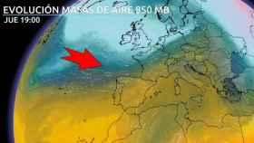 La entrada de aire cálido que cubrirá España a partir del miércoles. Eltiempo.es.