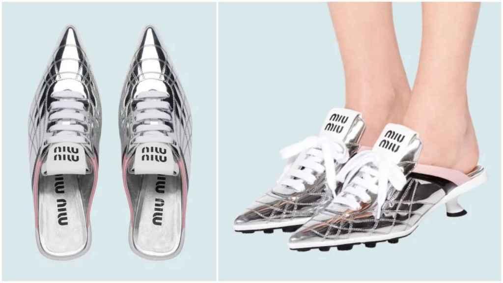 Zapatillas de tacón medio en tejido técnico de Miu Miu.