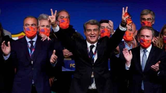 Rafa Yuste, Joan Laporta y Jaume Giró celebrando la victoria en las elecciones
