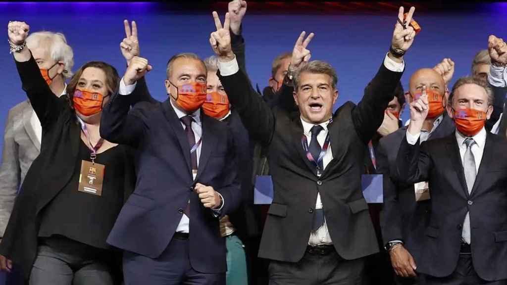 Joan Laporta, tras ganar las elecciones a la presidencia del Barcelona