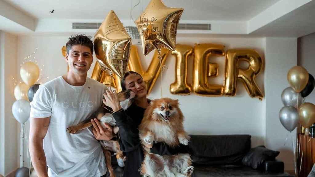 Tudela junto a su novia, Marina Romero, en una imagen de su última fiesta de cumpleaños.